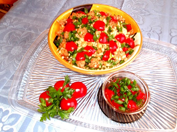 Warm Couscous, Sausage and Chickpea Salad with Cherry Tomato Vinaigrette Recipe