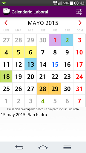 Calendario Laboral 2015 no Ads
