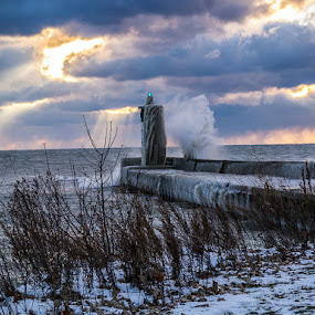 Waves Crashing at Port of Newcastle by Craig Brown - Landscapes Waterscapes ( canada, waves, port of newcastle, image, ontario, lake, panasonic gx1, landscape, photo, photography, picture, lake ontario, winter, sun beams, nature, ice, snow, craig, photographer, sunrise, craig brown )