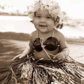 Aloha Alex by Larry Crawford - Babies & Children Children Candids ( sepia, hula, child portrait, hawaii,  )