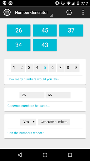 Lottery Numbers Generator