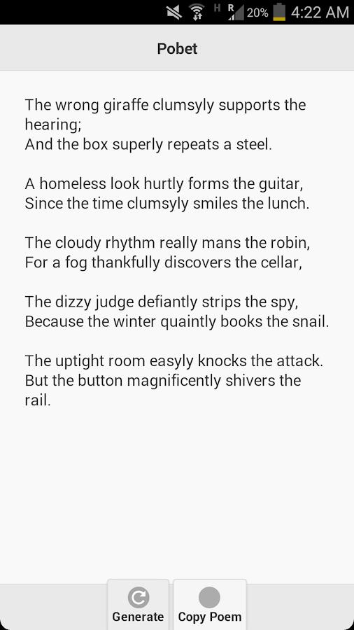 Pobet (Poem Generator) - screenshot