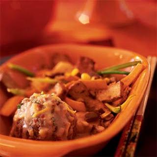 Lion's Head Meatballs in Spicy Coconut Sauce.