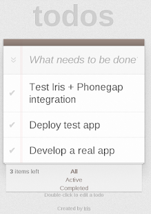 Todo with Phonegap + Iris - screenshot thumbnail