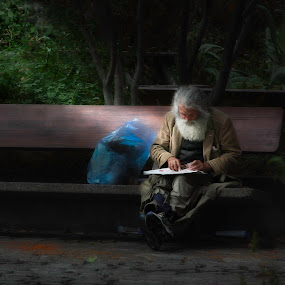 Homeless by John Finch - People Street & Candids ( bench, candids, artistic, object, city park, public, furniture, digital, people )