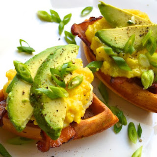 Chili Waffle Sandwiches with Cheesy Scrambled Eggs, Bacon, and Avocado