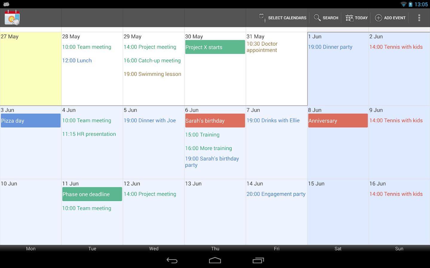 Touch Calendar - screenshot