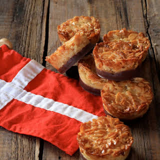 Danish Tarts with Sliced Almonds and Chocolate in Honor of Danish National Day.