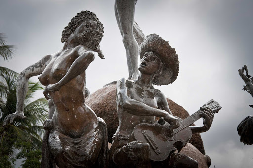 """Raices-fountain-San-Juan-Antiguo - This bronze fountain """"Raíces"""" (for """"Roots"""") in Old San Juan celebrates Puerto Rico's rich cultural diversity and historical heritage."""