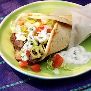 Beef Gyros with Tzatziki Sauce.