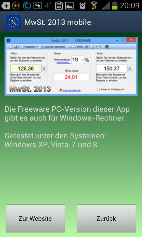 MwSt. 2013 mobile- screenshot