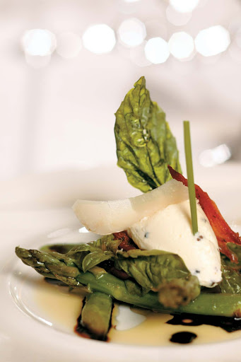 Tere-Moana-cuisine - An artfully presented asparagus and cheese appetizer fresh from the kitchen of L'Etoile aboard Tere Moana.