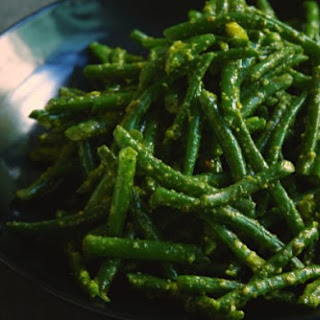 Green Beans With Pistachio Pesto.