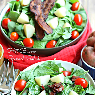 Hot Bacon Spinach Salad (Gluten Free Egg free Dairy Free).