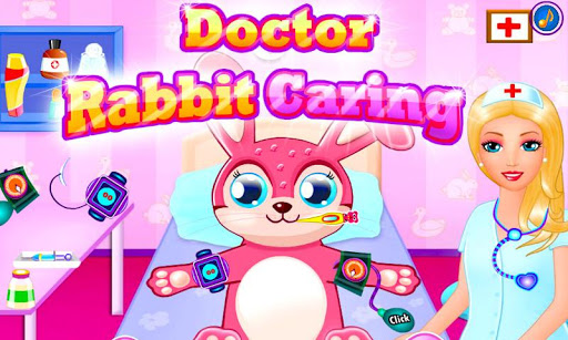 부활절 의사 토끼 돌보는