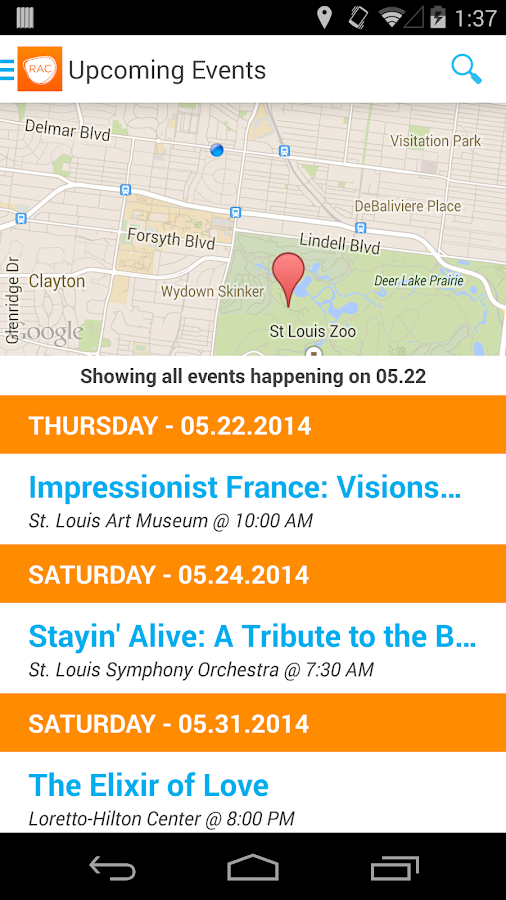 RAC Arts & Events Calendar- screenshot