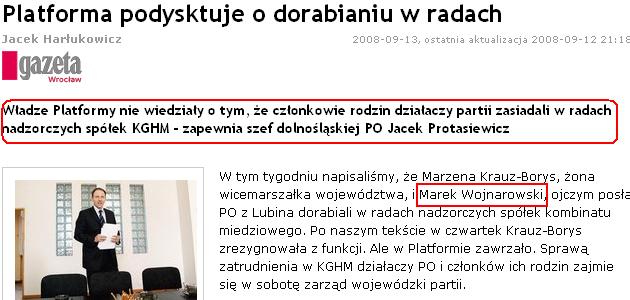 Gazeta Wyborcza, Platforma Obywatelska, nepotyzm, KGHM, Lubin