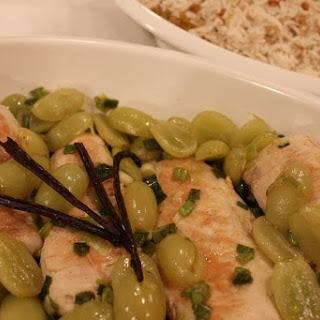 Vanilla Bean and Green Grape Chicken with Vanilla Scented Pilaf.