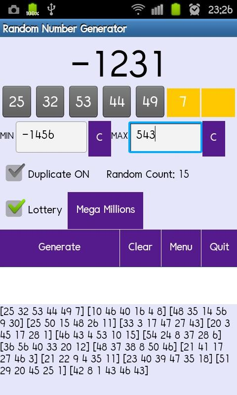 Random Number Generator - screenshot