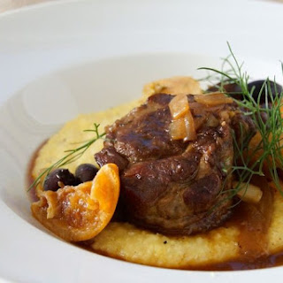 Braised Pork Shoulder with Fennel, Oranges & Olives.