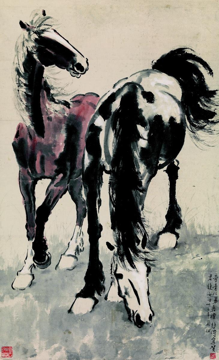 Two Horses Xu Beihong Google Arts Culture