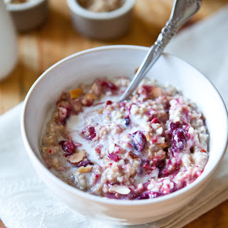 Spiced Steel Cut Oats Porridge with Cranberry-Ginger Sauce