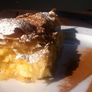 Greek Bougatsa recipe (Custard Pie with Phyllo and ground Cinnamon).