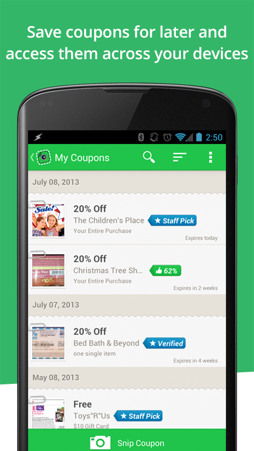 SnipSnap Coupon App- screenshot