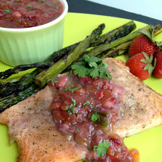 Grilled Salmon with Strawberry Rhubarb Salsa