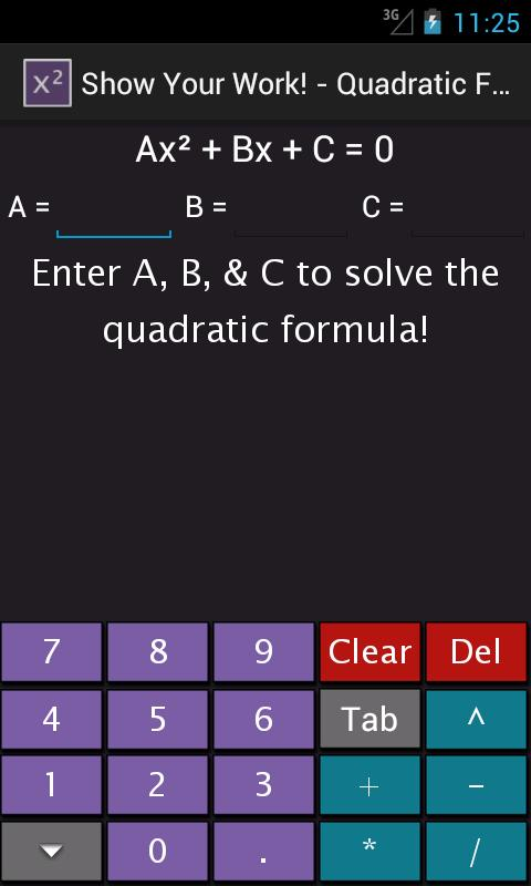 Quadratic Equation Solver - screenshot
