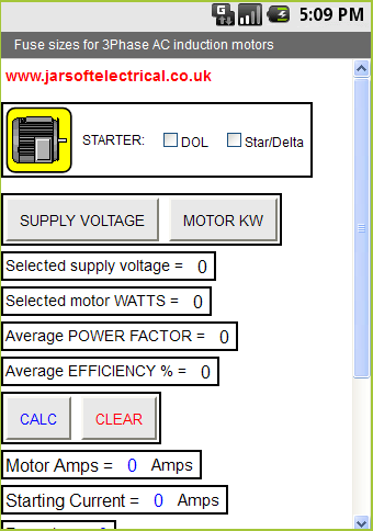AC motor fuse selector