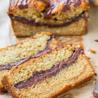 Nutella-Layered-and-Swirled Peanut Butter Bread {Peanut Butter Loaf Cake}.