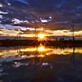 Sunset and clouds by Vanja Vidaković - Landscapes Sunsets & Sunrises ( vukovar, 2014, croatia, stara vuka,  )