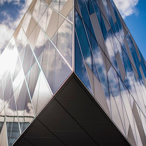 Convergence by Aiden Ogden - Buildings & Architecture Architectural Detail ( clouds, reflection, detail, building, sky, glass, architectural, reflections, lines, architecture )