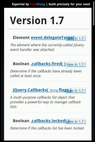 Dev Pocket Reference - jQuery - screenshot