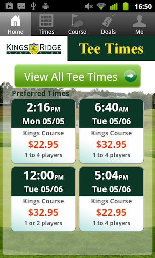 King's Ridge Golf Tee Times