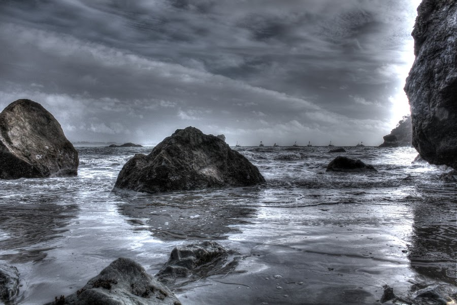 Dark Beach by Bill John - Landscapes Waterscapes ( stormy, hdr, boats, weather, overcast, beach )