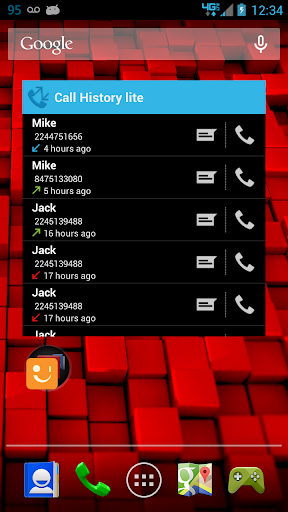 Call log history widget