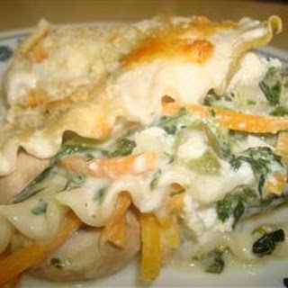Spinach Lasagna with White Sauce.