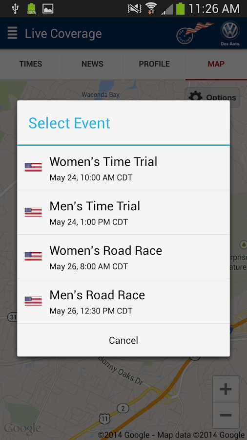 USA Cycling Pro Tour Tracker - screenshot
