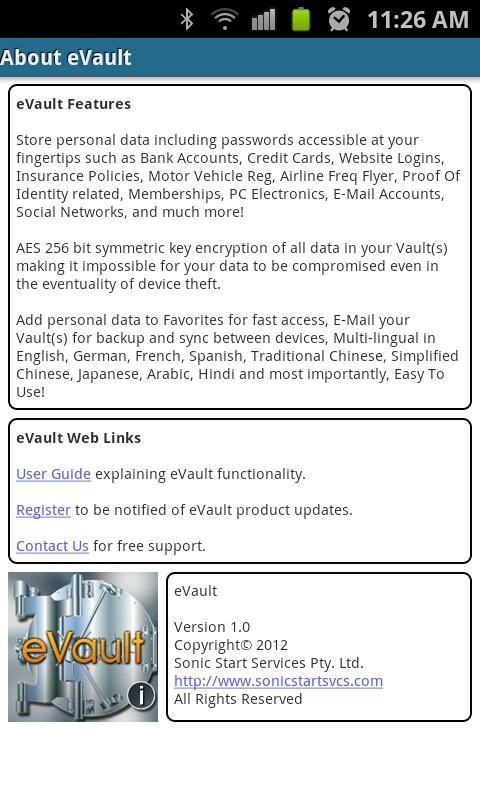 eVault- screenshot
