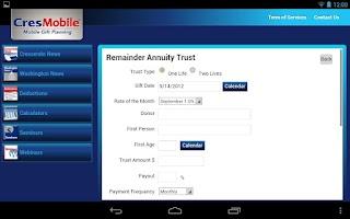 Screenshot of CresMobile