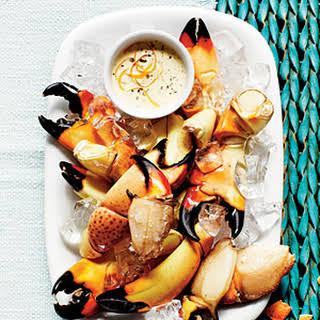 Stone Crab Claws with Zesty Orange-Horseradish Sauce.