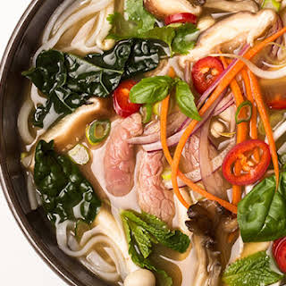 Detox Pho with Beef, Mushrooms, and Kale.