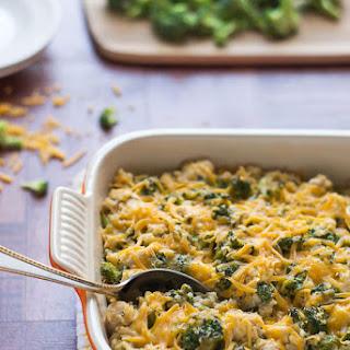 Healthy Cheesy Chicken Broccoli Rice Casserole.