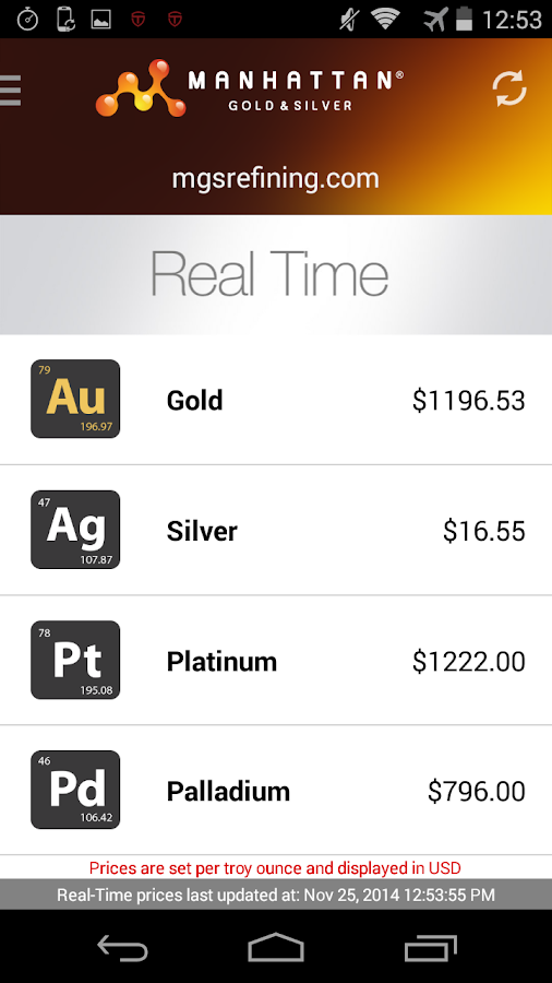 Precious Metal Prices- screenshot