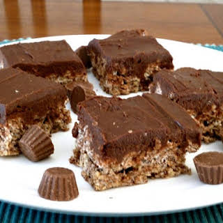 Layered Triple Chocolate Peanut Butter Krispie Treats.