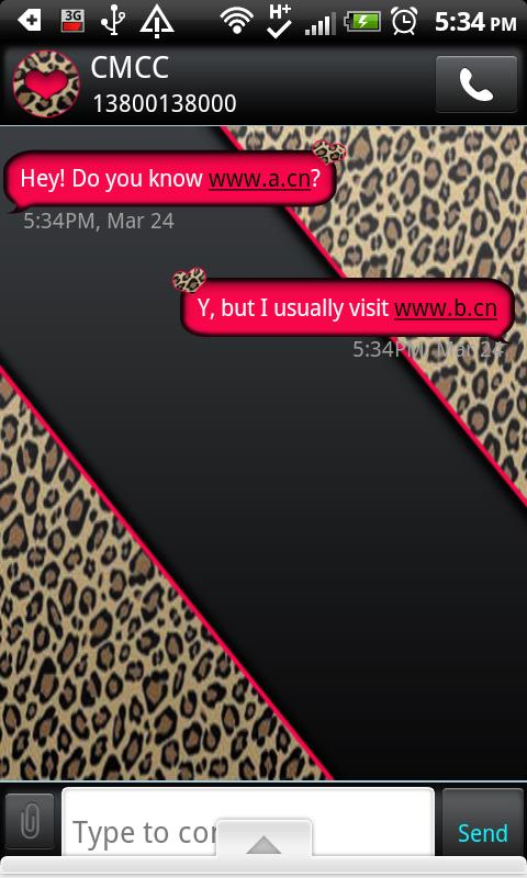 GO SMS THEME/HotPinkLeopard - screenshot