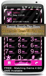GO Contact Theme WB Pink Zebra - screenshot thumbnail