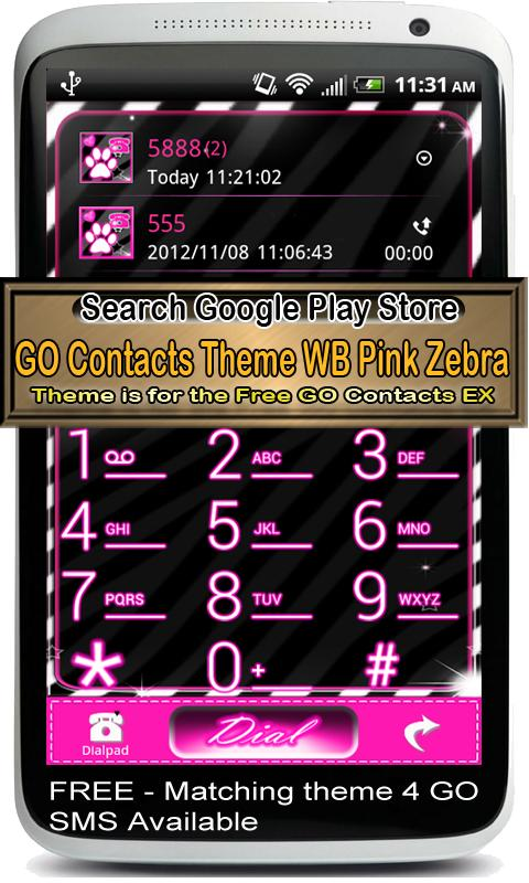 GO Contact Theme WB Pink Zebra - screenshot